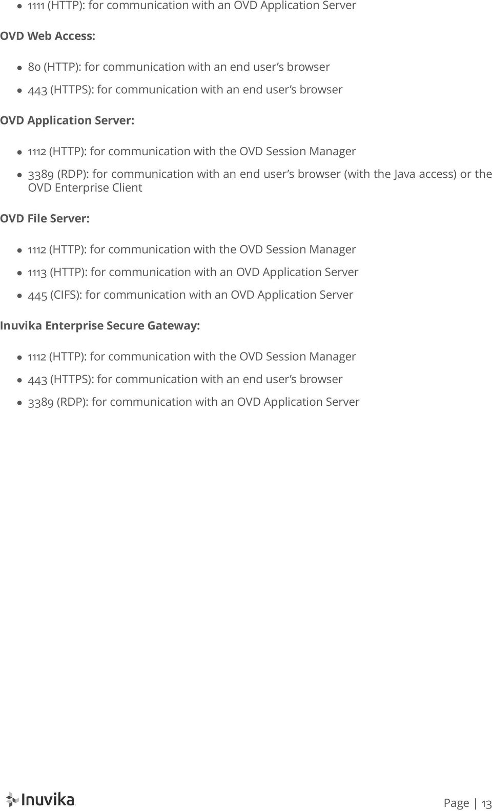 Server: 1112 (HTTP): for communication with the OVD Session Manager 1113 (HTTP): for communication with an OVD Application Server 445 (CIFS): for communication with an OVD Application Server Inuvika