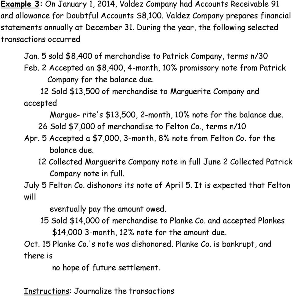 2 Accepted an $8,400, 4-month, 10% promissory note from Patrick Company for the balance due.