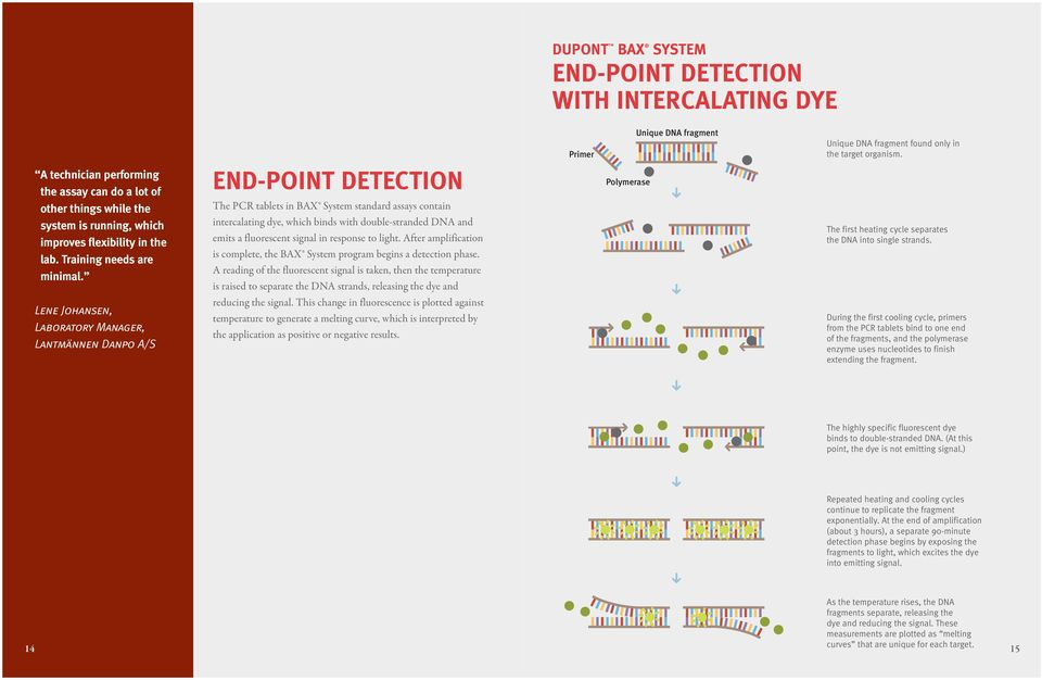 END-POINT detection The PCR tablets in BAX System standard assays contain intercalating dye, which binds with double-stranded DNA and emits a fluorescent signal in response to light.