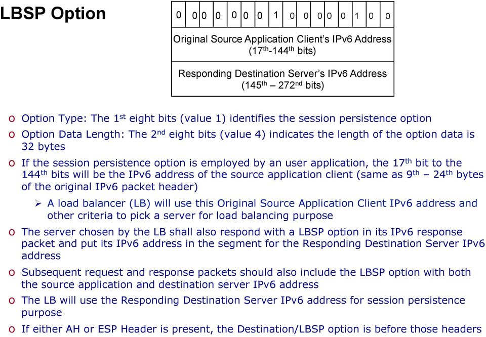 persistence option is employed by an user application, the 17 th bit to the 144 th bits will be the IPv6 address of the source application client (same as 9 th 24 th bytes of the original IPv6 packet