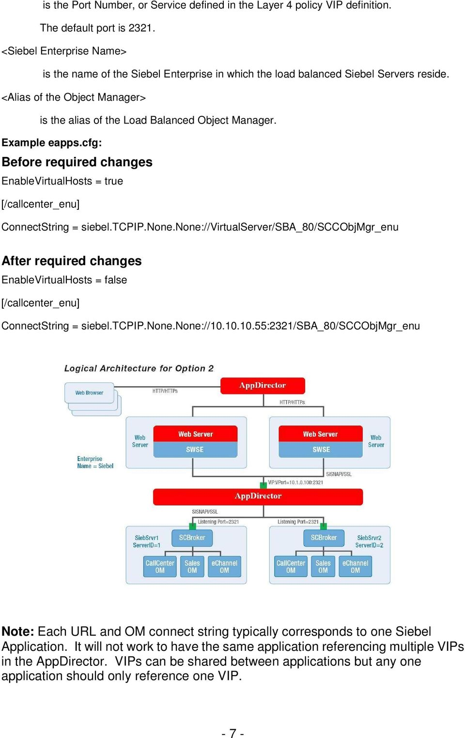 Example eapps.cfg: Before required changes EnableVirtualHosts = true [/callcenter_enu] ConnectString = siebel.tcpip.none.