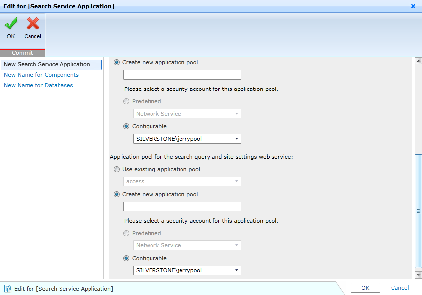 Figure 92: Search Service Application Settings.