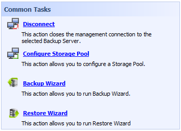 Disconnect closes the management connection to a selected backup server. Configure Storage Pool Storage pool is a location where your archives are stored.