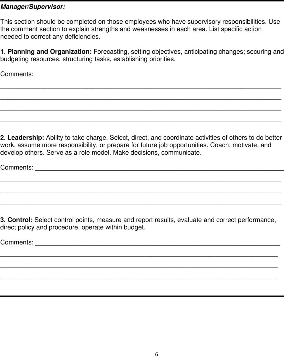 performance appraisal template samples pdf planning and organization forecasting setting objectives anticipating changes securing and budgeting resources