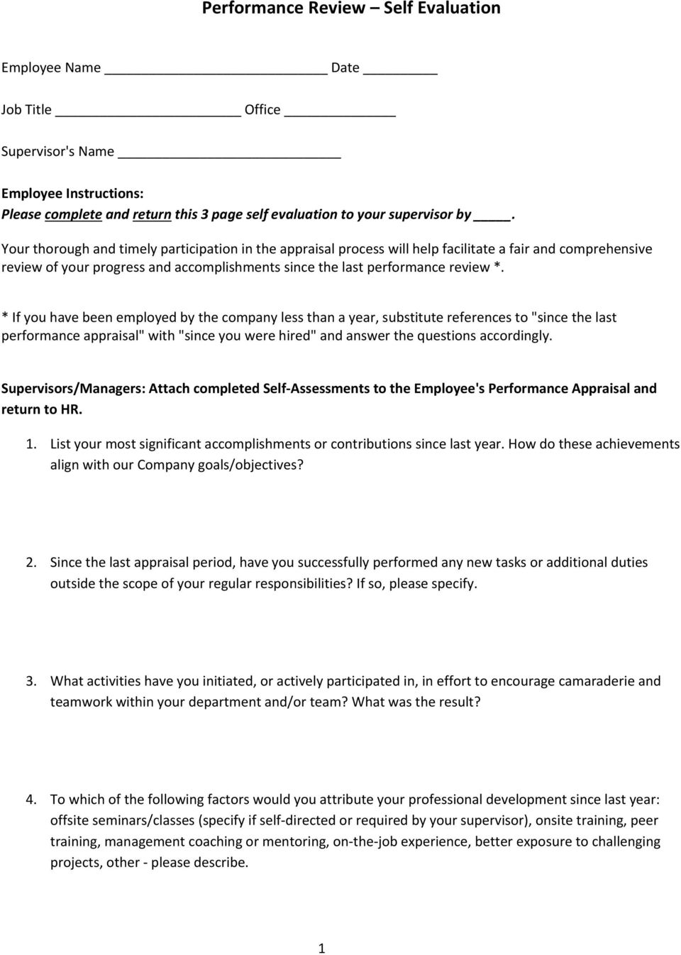 performance appraisal template samples pdf if you have been employed by the company less than a year substitute references