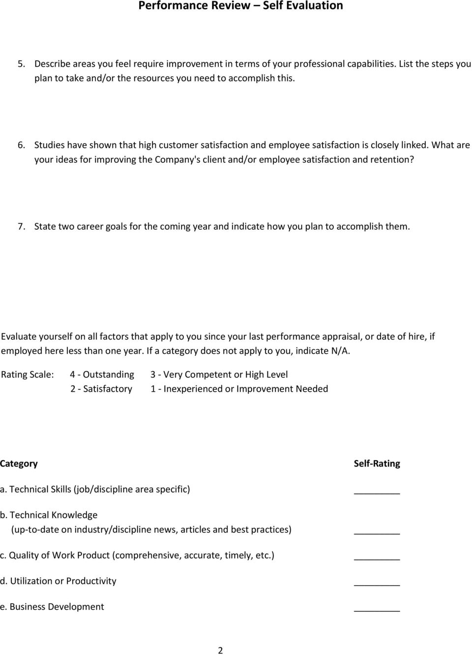 performance appraisal template samples pdf what are your ideas for improving the company s client and or employee satisfaction and retention