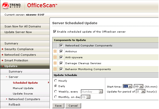 Using Trend Micro OfficeScan Using Trend Micro OfficeScan If you are using Trend Micro OfficeScan, perform the procedures described in this section to do the following: Configure scheduled updating