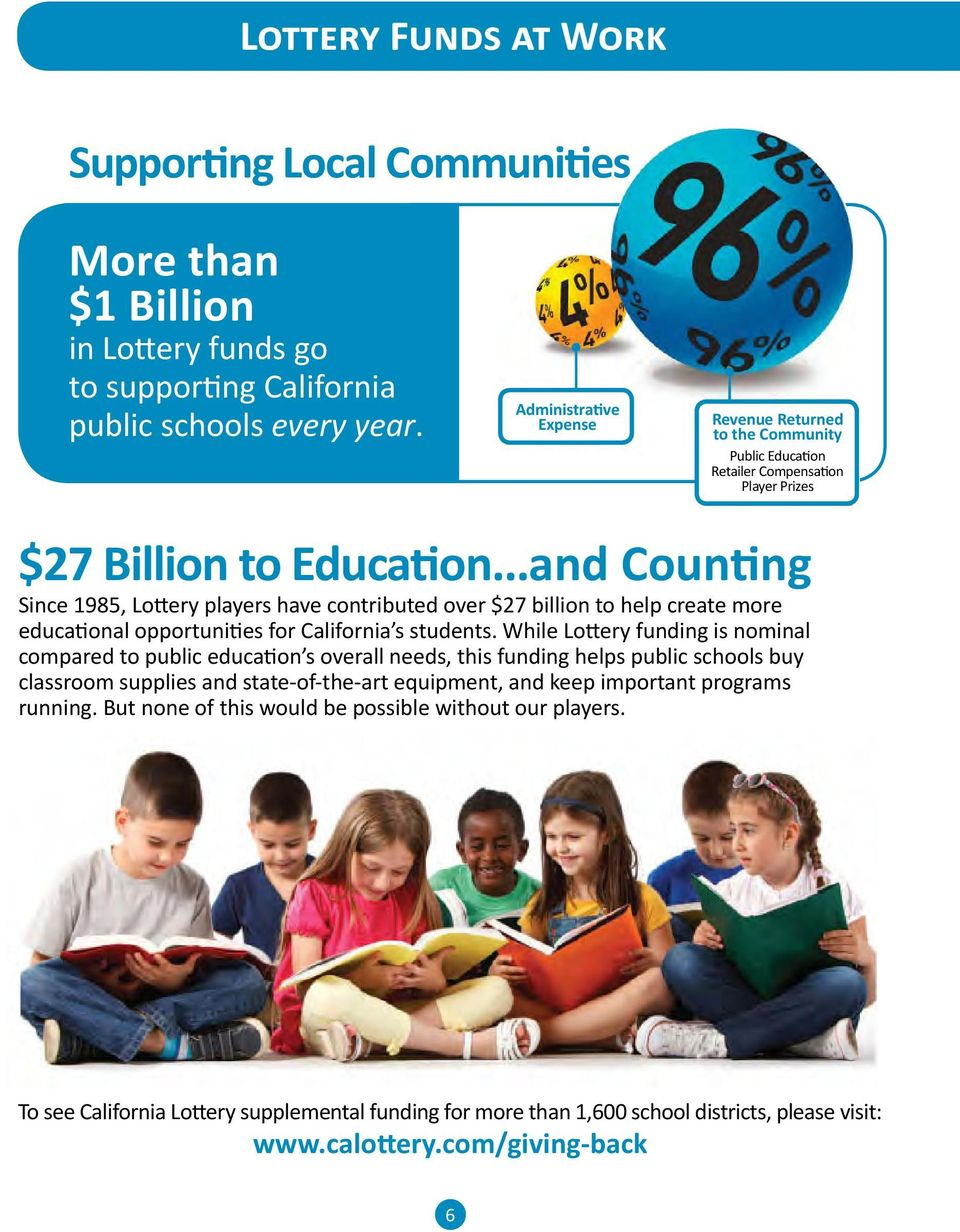 ..and Counting Since 1985, Lottery players have contributed over $27 billion to help create more educational opportunities for California s students.