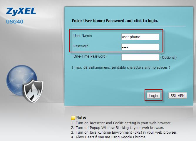 (1) Enter the user-phone user name and password and Login.