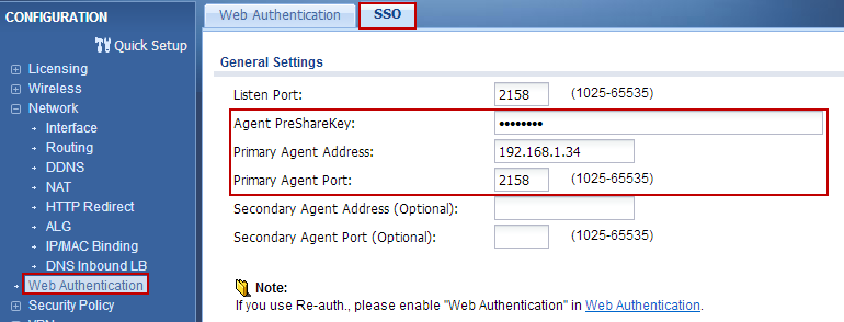 3. Go to CONFIGURATION > Object > Auth. Method and add group ad in the default authentication method. 4. Go to CONFIGURATION > Web Authentication > SSO.