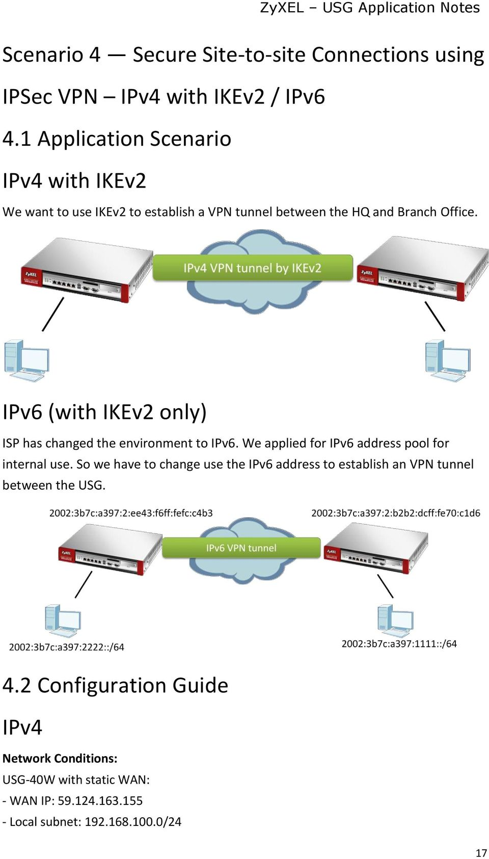 IPv6 (with IKEv2 only) ISP has changed the environment to IPv6. We applied for IPv6 address pool for internal use.