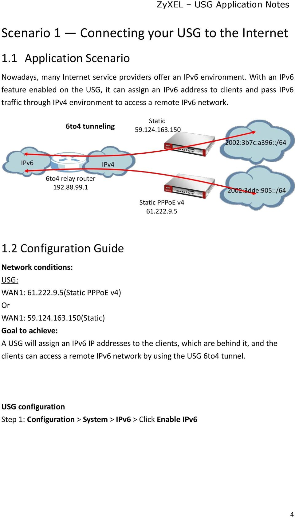 2 Configuration Guide Network conditions: USG: WAN1: 61.222.9.5(Static PPPoE v4) Or WAN1: 59.124.163.