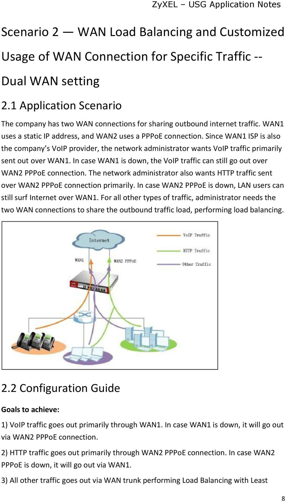 Since WAN1 ISP is also the company s VoIP provider, the network administrator wants VoIP traffic primarily sent out over WAN1.