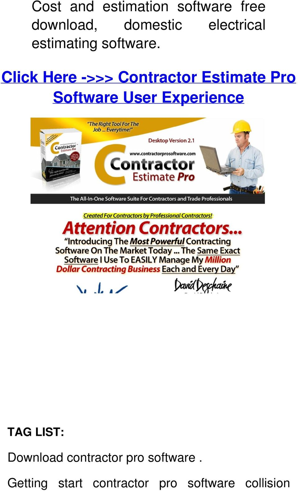 Click Here ->>> Contractor Estimate Pro Software User