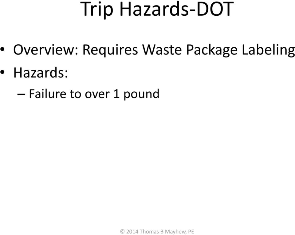 Waste Package Labeling