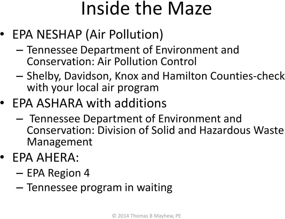 your local air program EPA ASHARA with additions Tennessee Department of Environment and