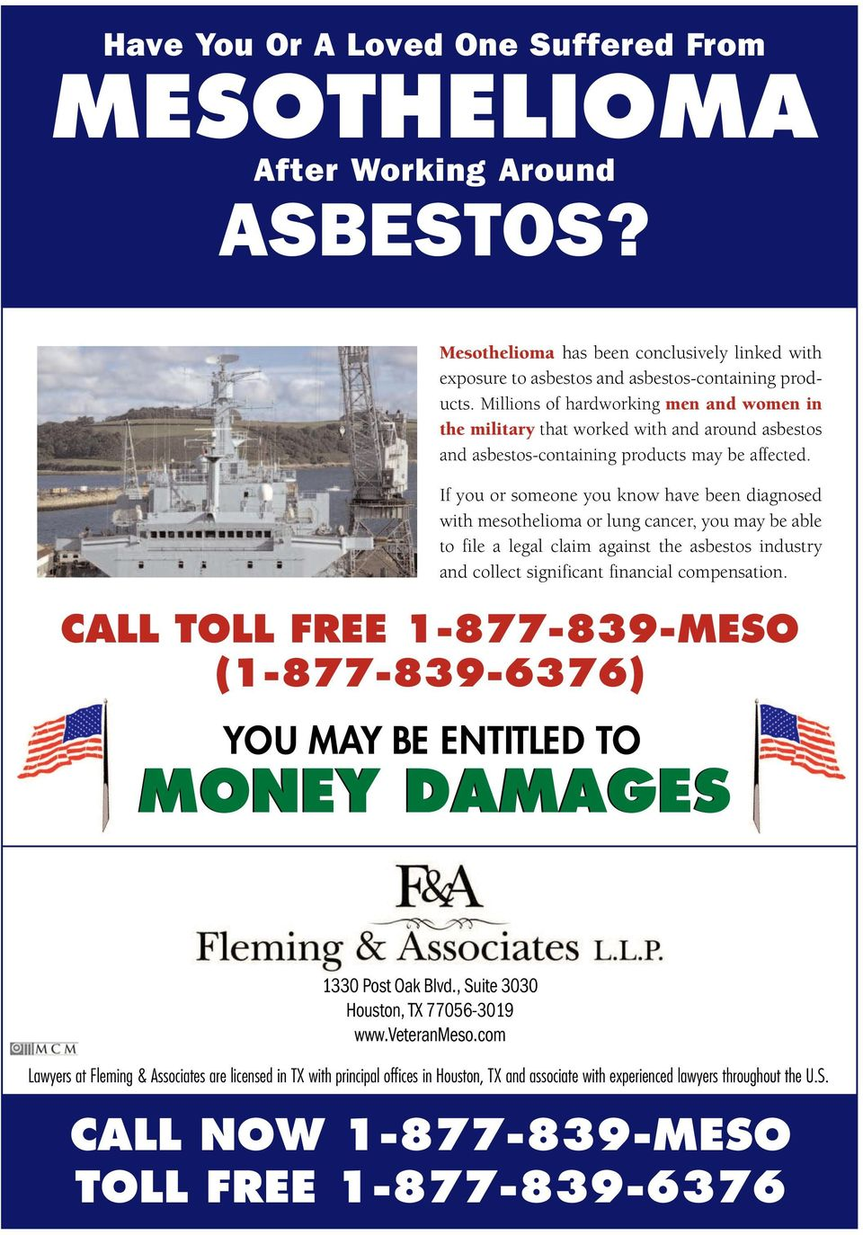 If you or someone you know have been diagnosed with mesothelioma or lung cancer, you may be able to file a legal claim against the asbestos industry and collect significant financial compensation.