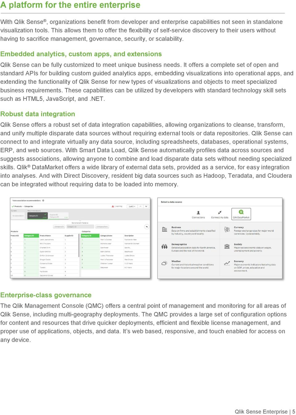 Embedded analytics, custom apps, and extensions Qlik Sense can be fully customized to meet unique business needs.