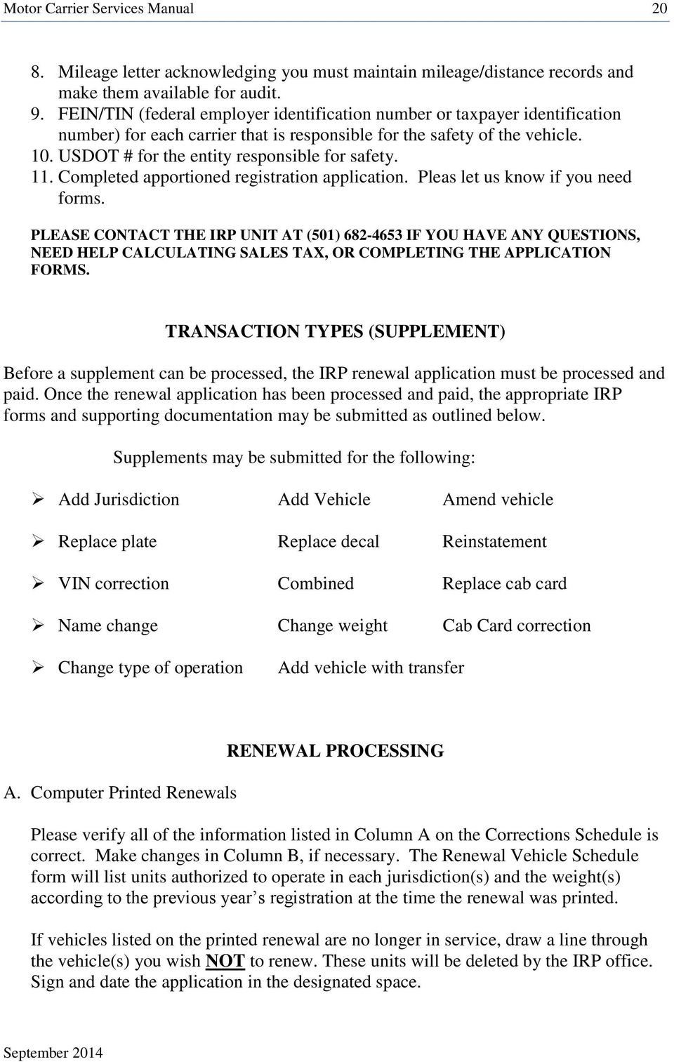 Arkansas revenue division office of motor vehicle for Motor carrier permit renewal application