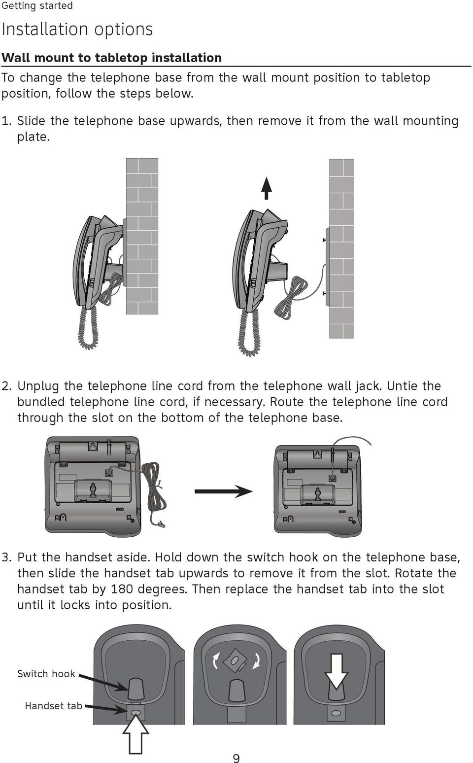 Untie the bundled telephone line cord, if necessary. Route the telephone line cord through the slot on the bottom of the telephone base. 3. Put the handset aside.