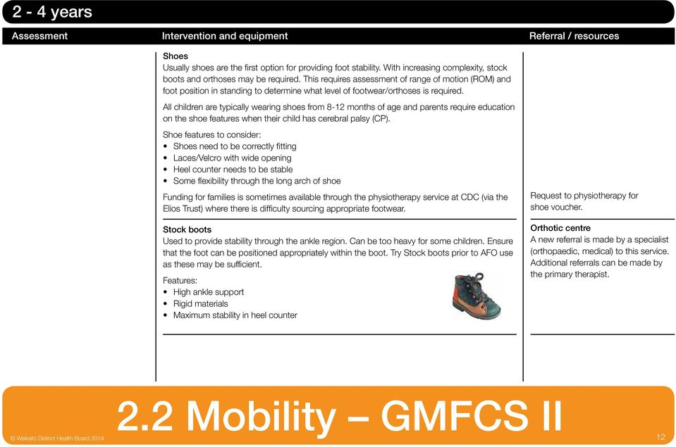 This requires assessment of range of motion (ROM) and foot position in standing to determine what level of footwear/orthoses is required.