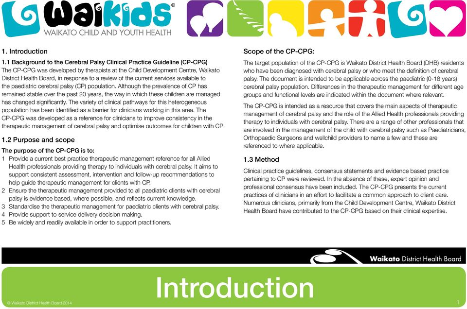 of the current services available to the paediatric cerebral palsy (CP) population.