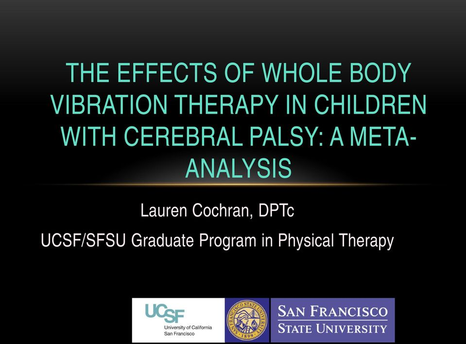 A META- ANALYSIS Lauren Cochran, DPTc