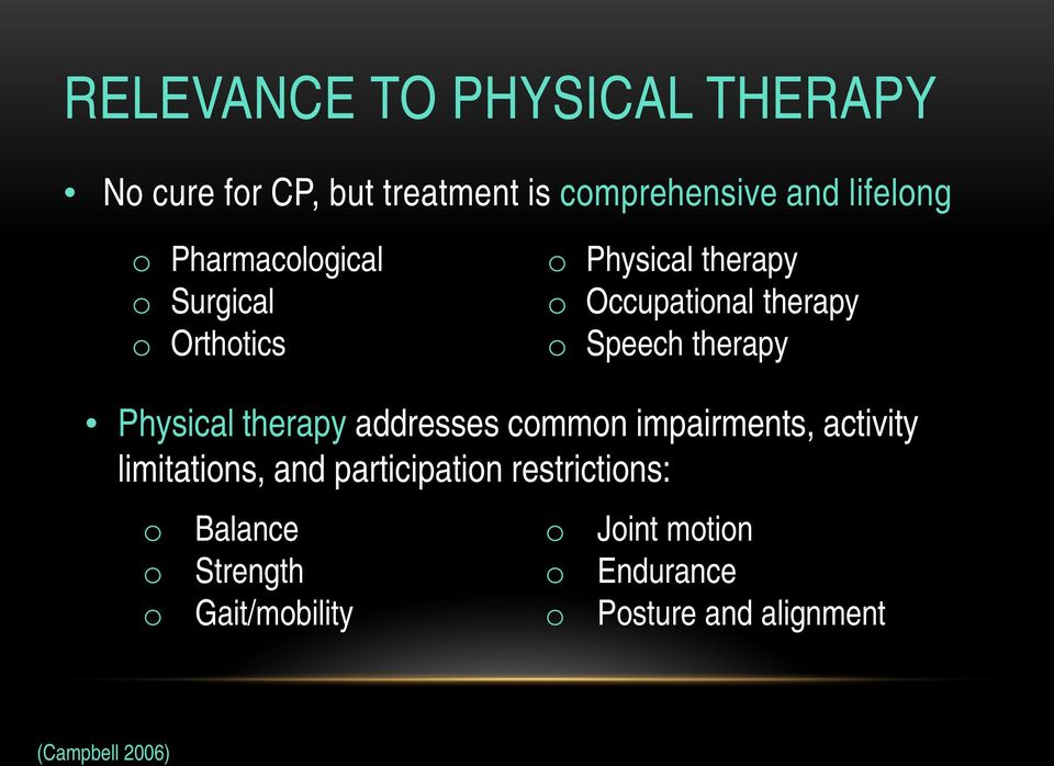 Physical therapy addresses common impairments, activity limitations, and participation