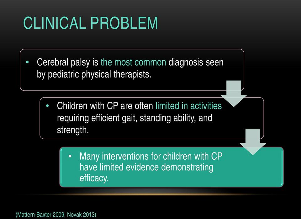 Children with CP are often limited in activities requiring efficient gait,