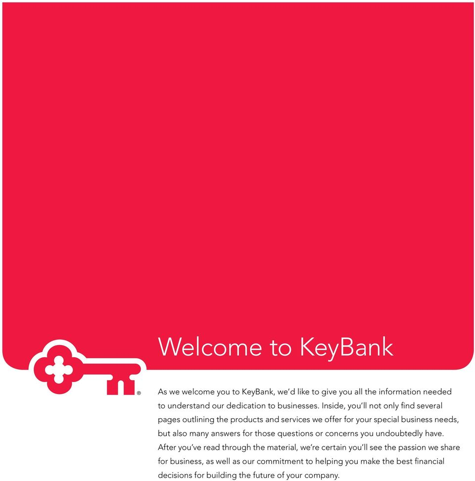 Welcome to  KeyBank  Your Business Accounts - PDF