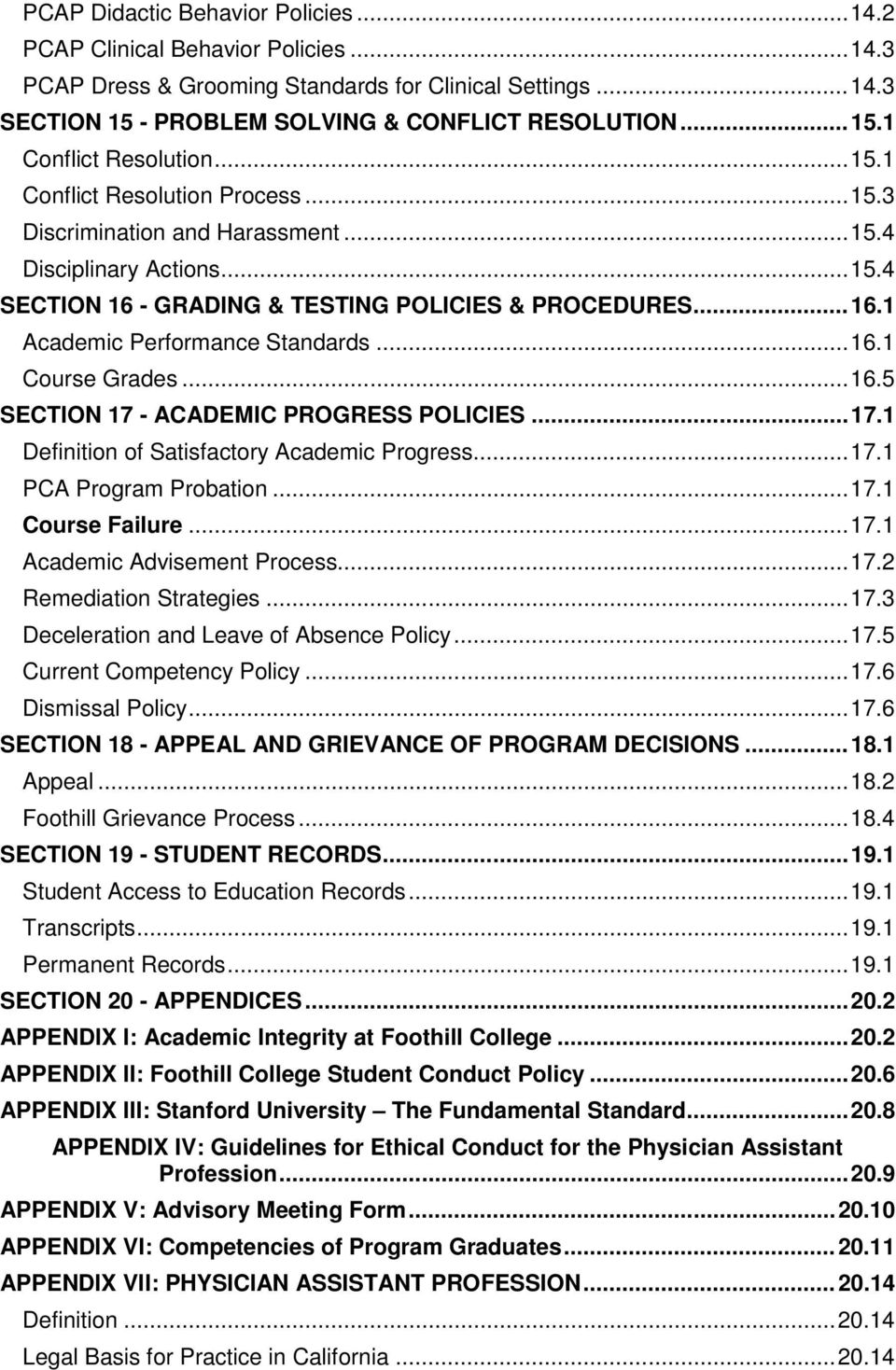 .. 16.1 Course Grades... 16.5 SECTION 17 - ACADEMIC PROGRESS POLICIES... 17.1 Definition of Satisfactory Academic Progress... 17.1 PCA Program Probation... 17.1 Course Failure... 17.1 Academic Advisement Process.