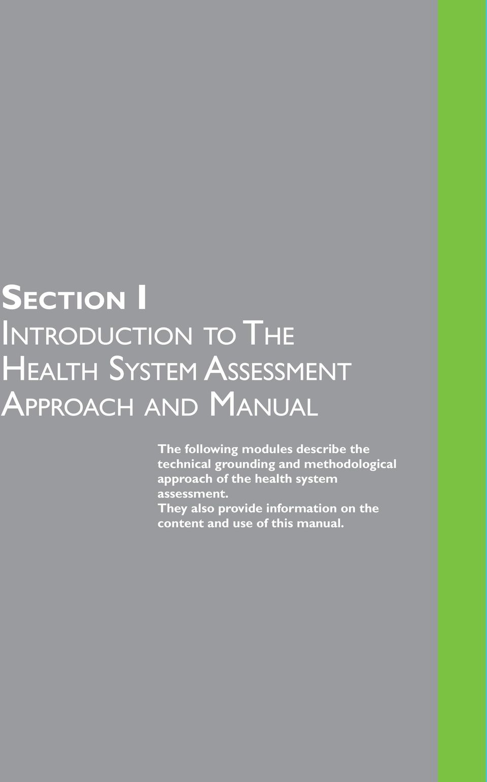 grounding and methodological approach of the health system