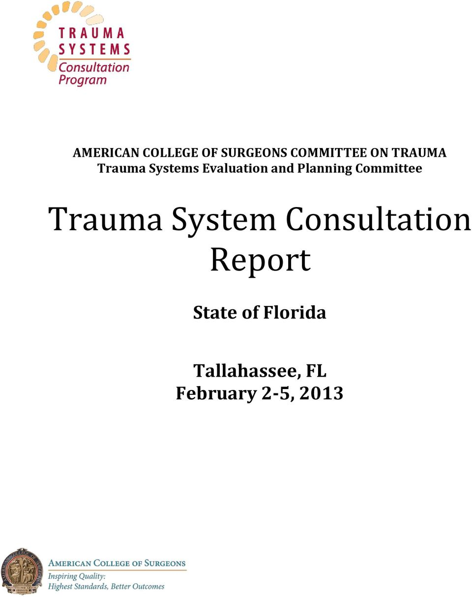 Committee Trauma System Consultation Report