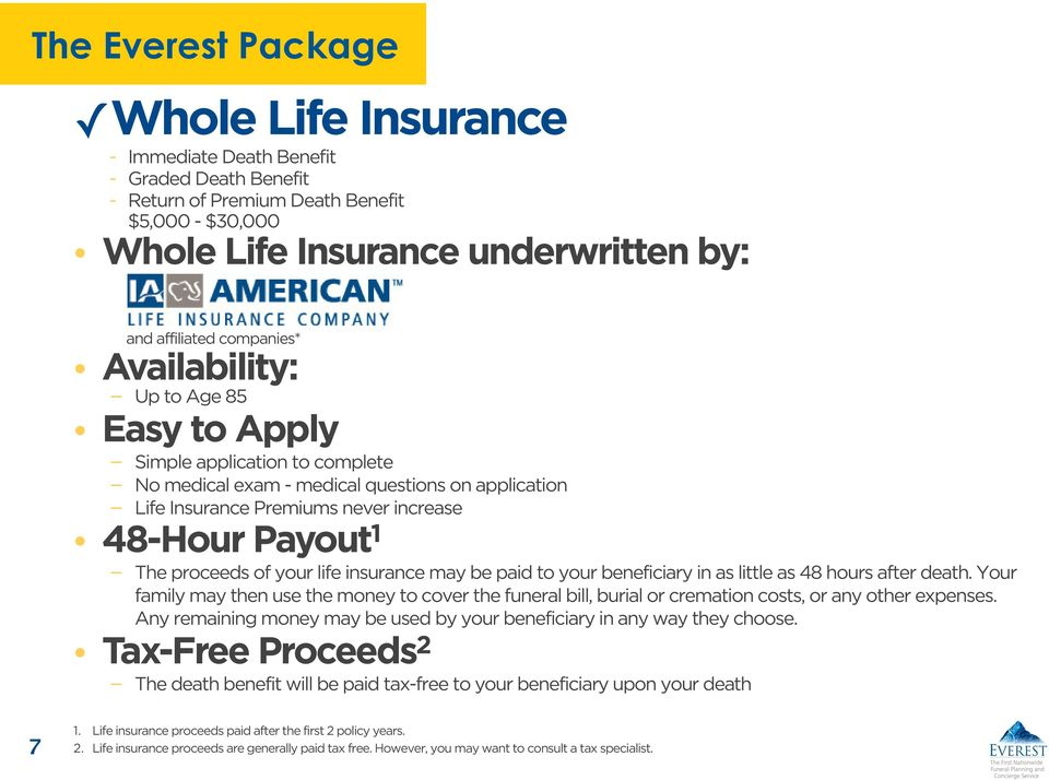 proceeds of your life insurance may be paid to your beneficiary in as little as 48 hours after death.