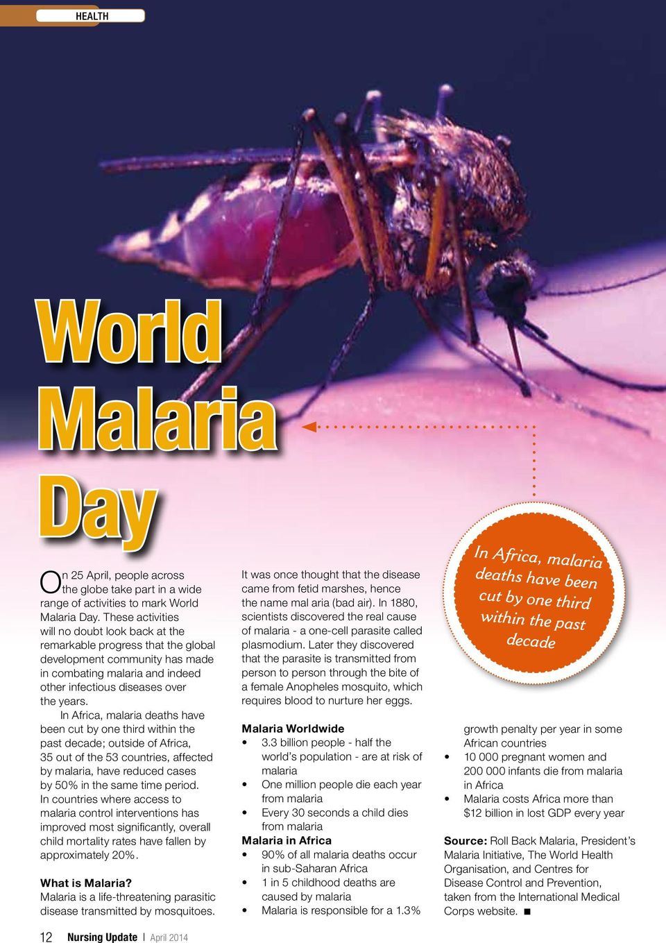 In Africa, malaria deaths have been cut by one third within the past decade; outside of Africa, 35 out of the 53 countries, affected by malaria, have reduced cases by 50% in the same time period.