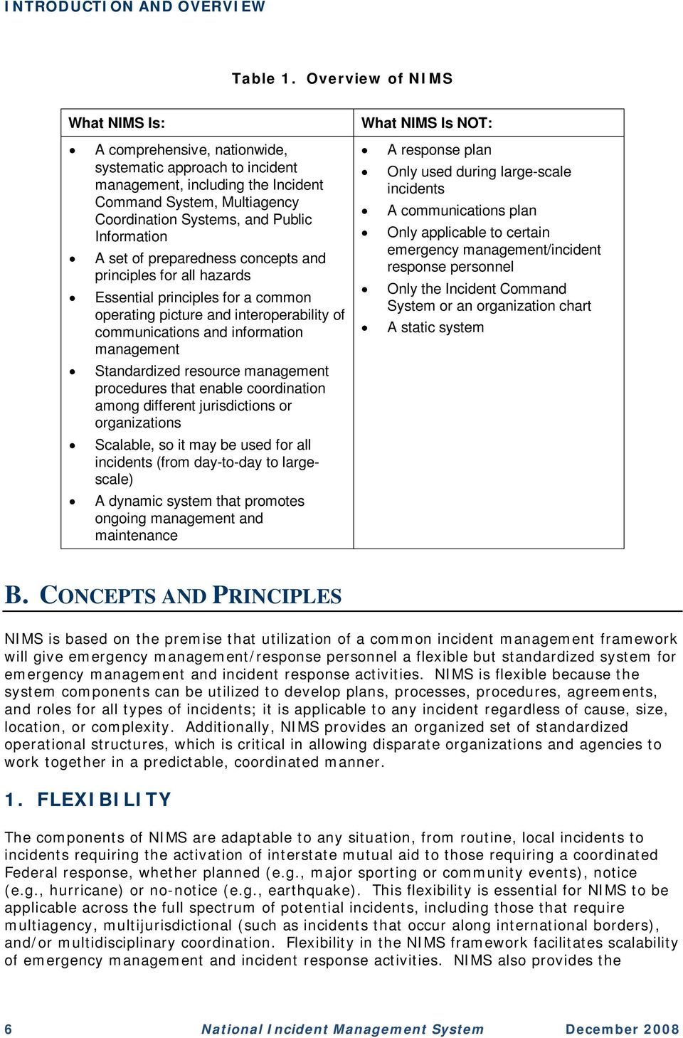 A set of preparedness concepts and principles for all hazards Essential principles for a common operating picture and interoperability of communications and information management Standardized