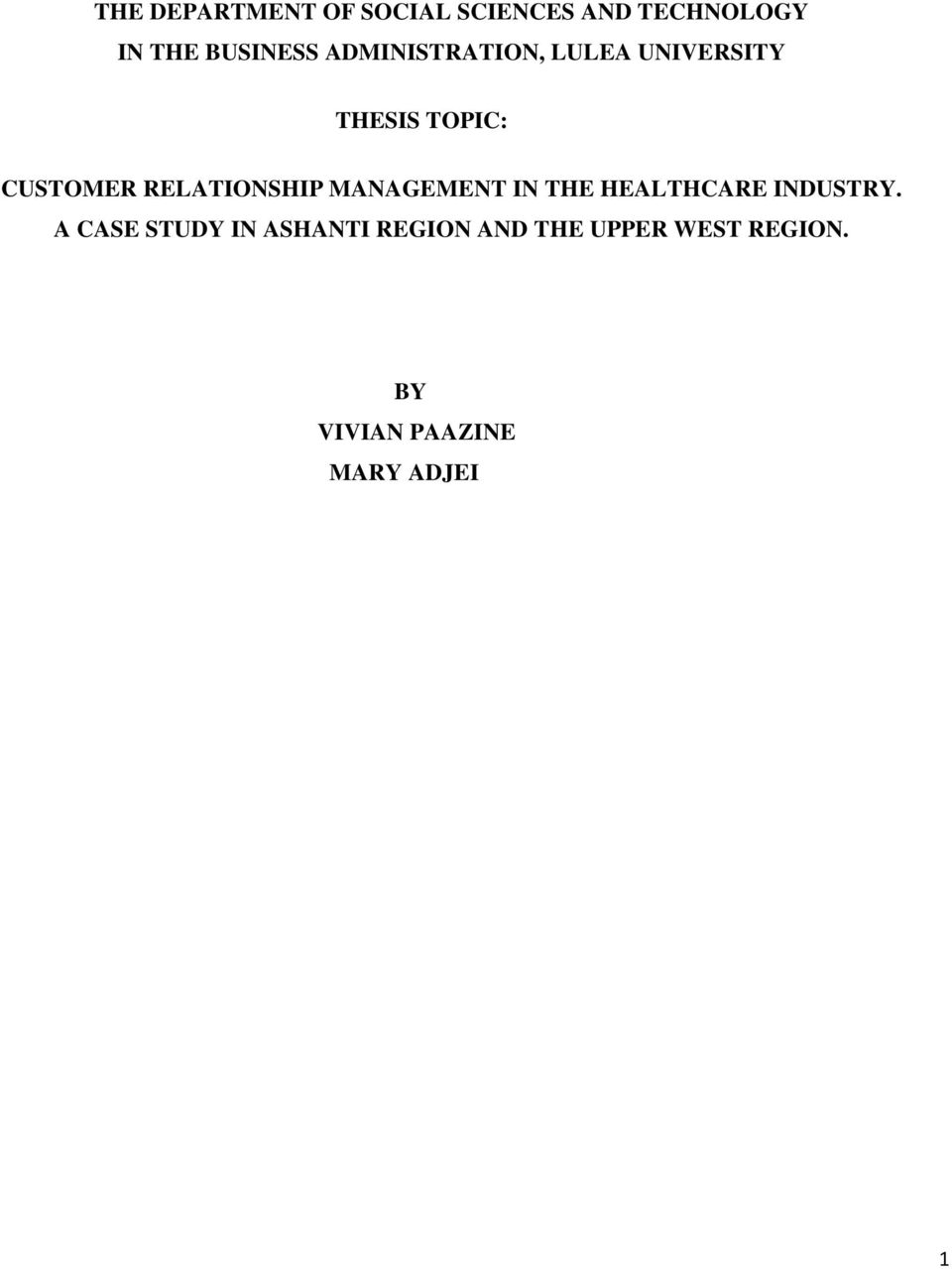 Thesis related to customer relationship management