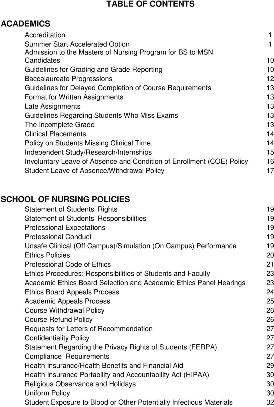 Incomplete Grade 13 Clinical Placements 14 Policy on Students Missing Clinical Time 14 Independent Study/Research/Internships 15 Involuntary Leave of Absence and Condition of Enrollment (COE) Policy