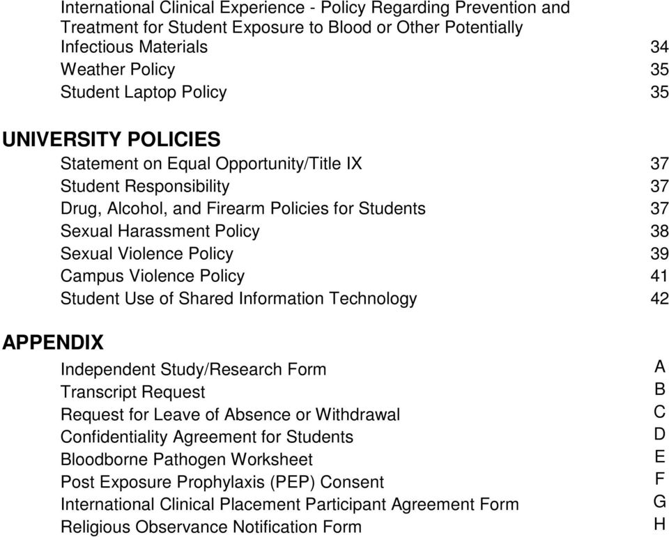 Campus Violence Policy 41 Student Use of Shared Information Technology 42 APPENDIX Independent Study/Research Form Transcript Request Request for Leave of Absence or Withdrawal Confidentiality