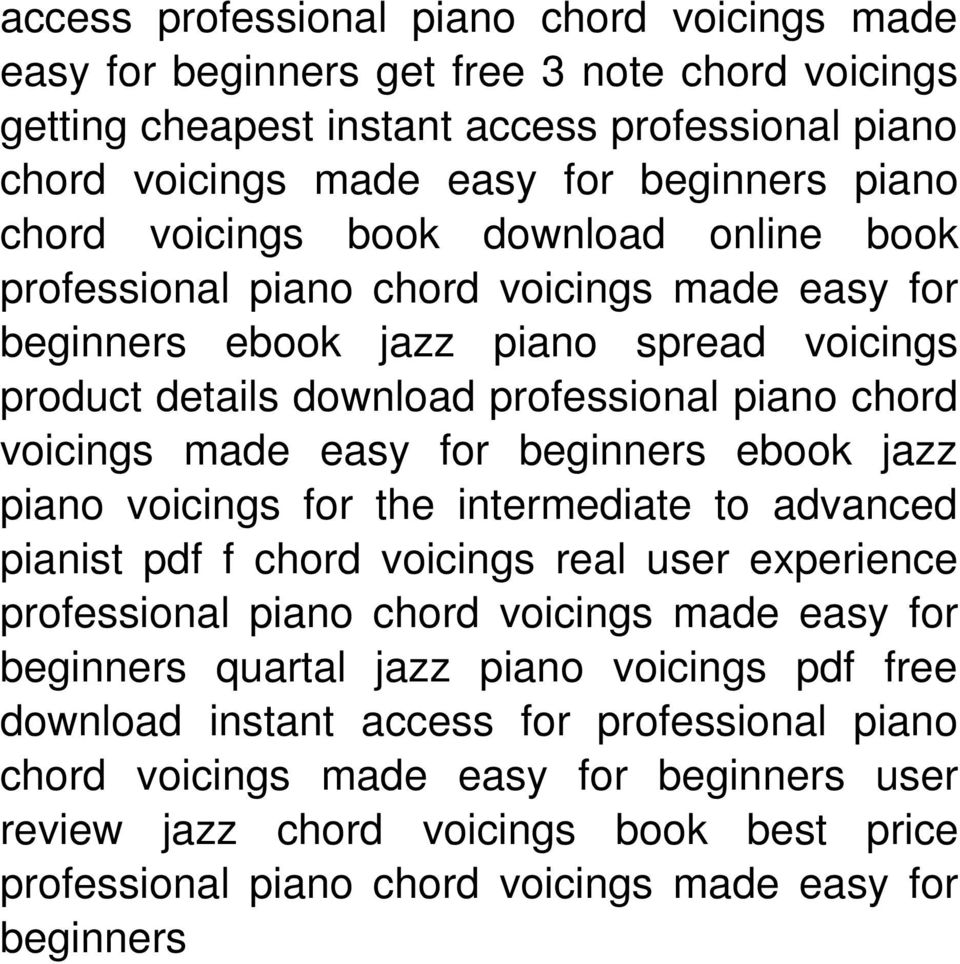 Professional Piano Chord Voicings Made Easy For Beginners Click