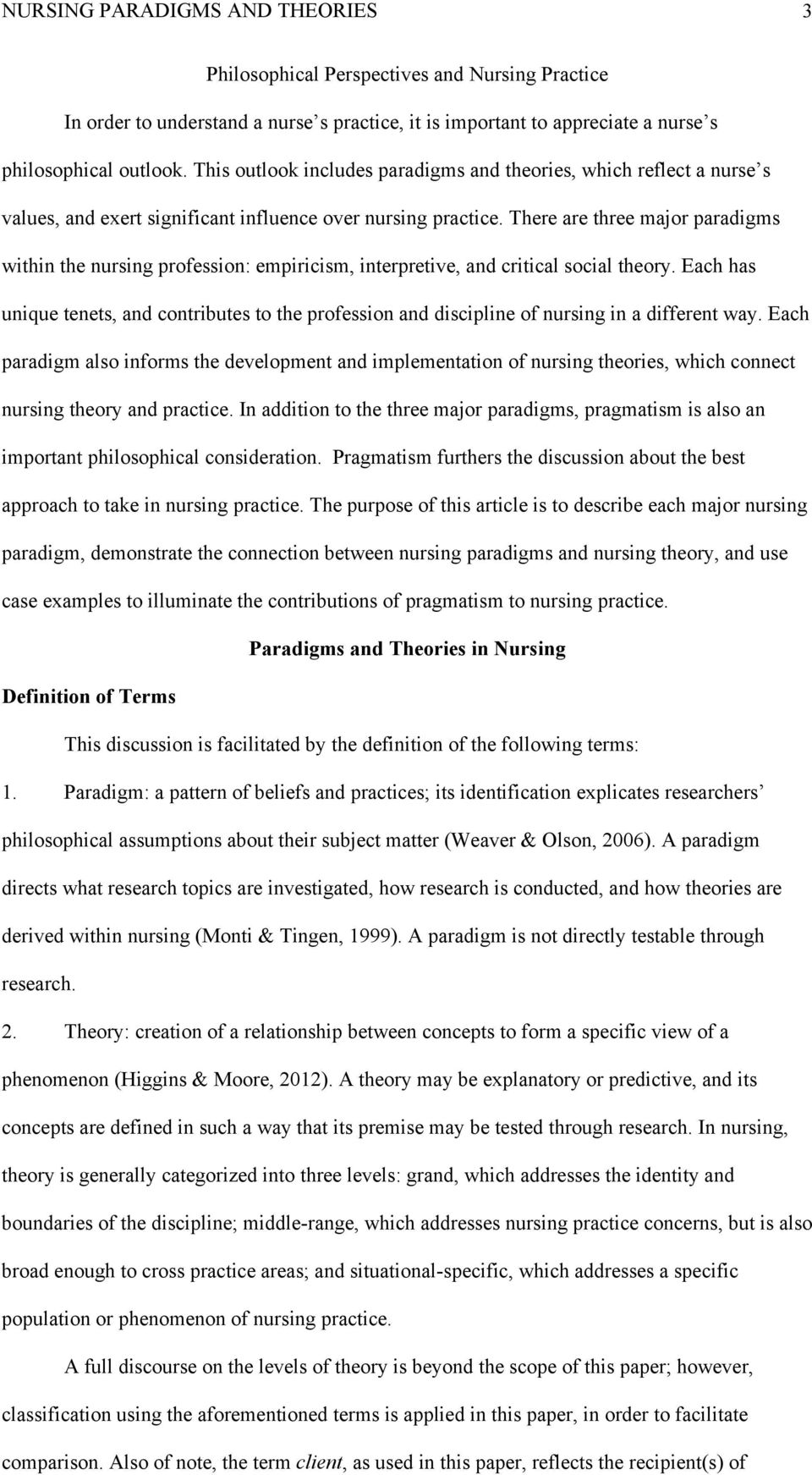 running head nursing paradigms and theories 1 pdf there are three major paradigms in the nursing profession empiricism interpretive and critical
