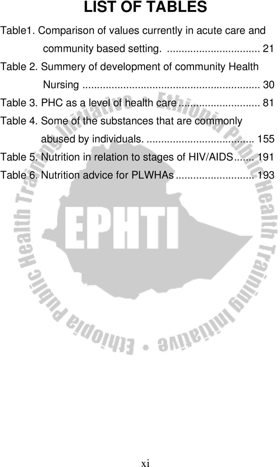 PHC as a level of health care... 81 Table 4.