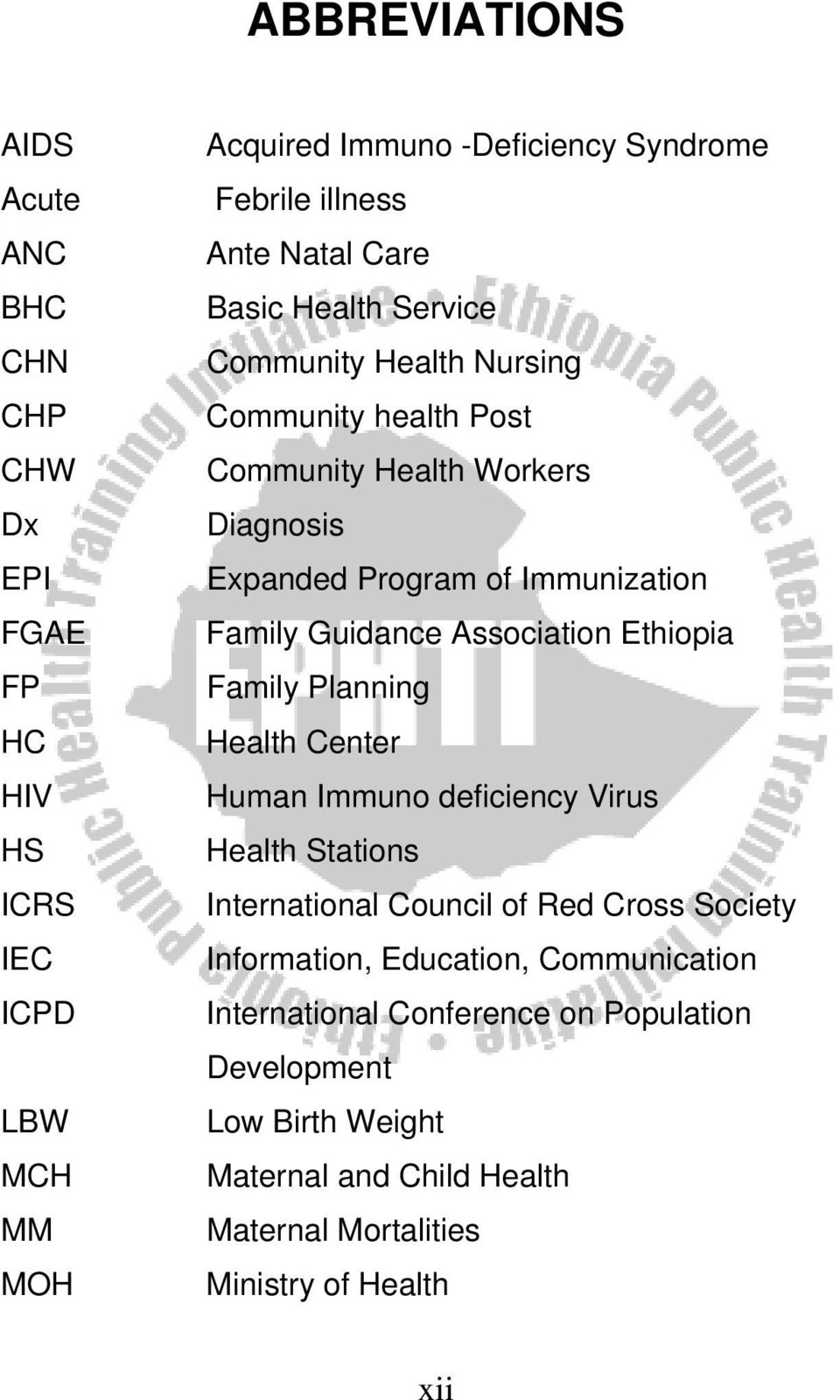 Guidance Association Ethiopia Family Planning Health Center Human Immuno deficiency Virus Health Stations International Council of Red Cross Society