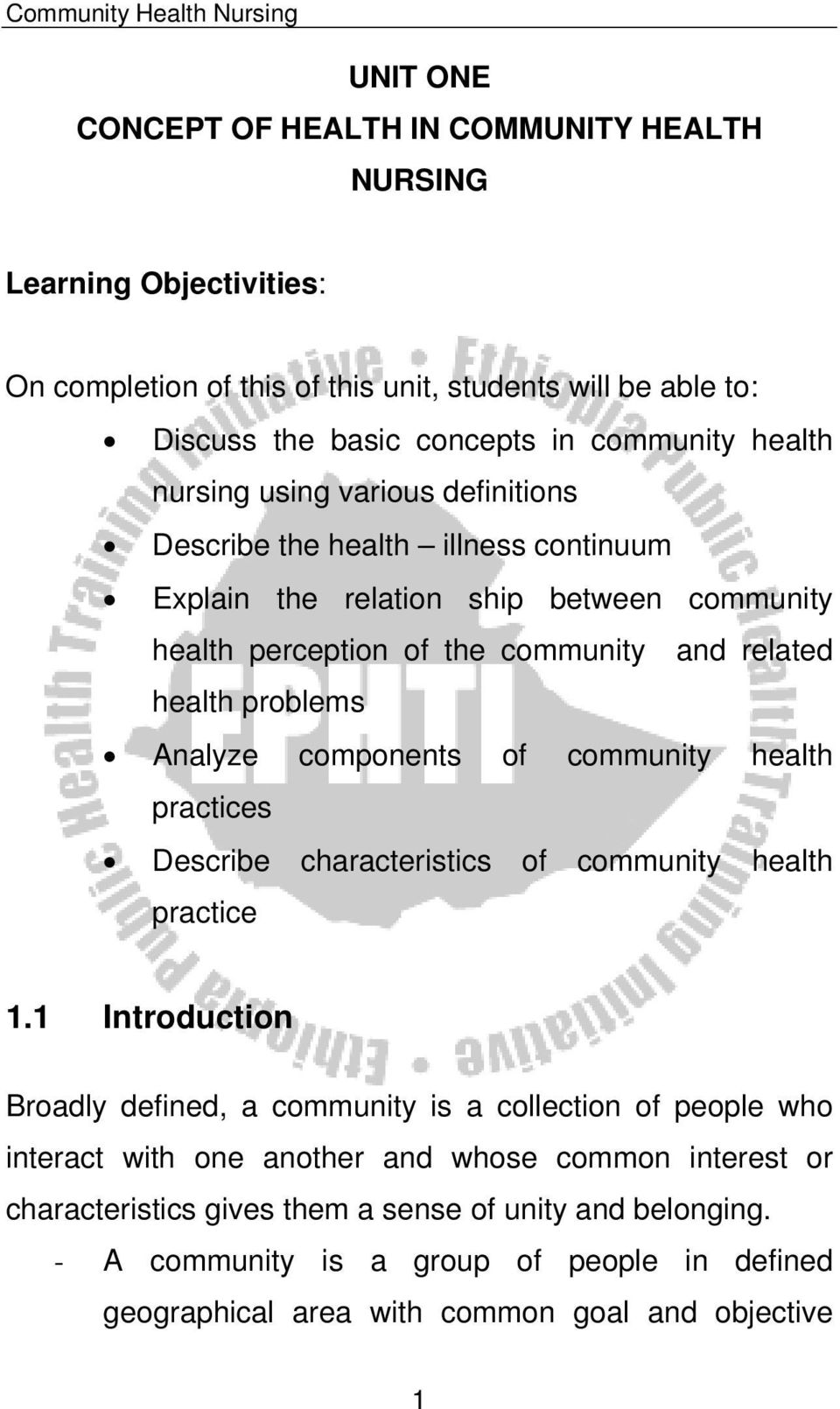 components of community health practices Describe characteristics of community health practice 1.
