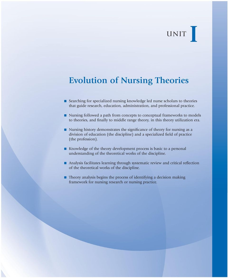 Nursing history demonstrates the significance of theory for nursing as a division of education (the discipline) and a specialized field of practice (the profession).