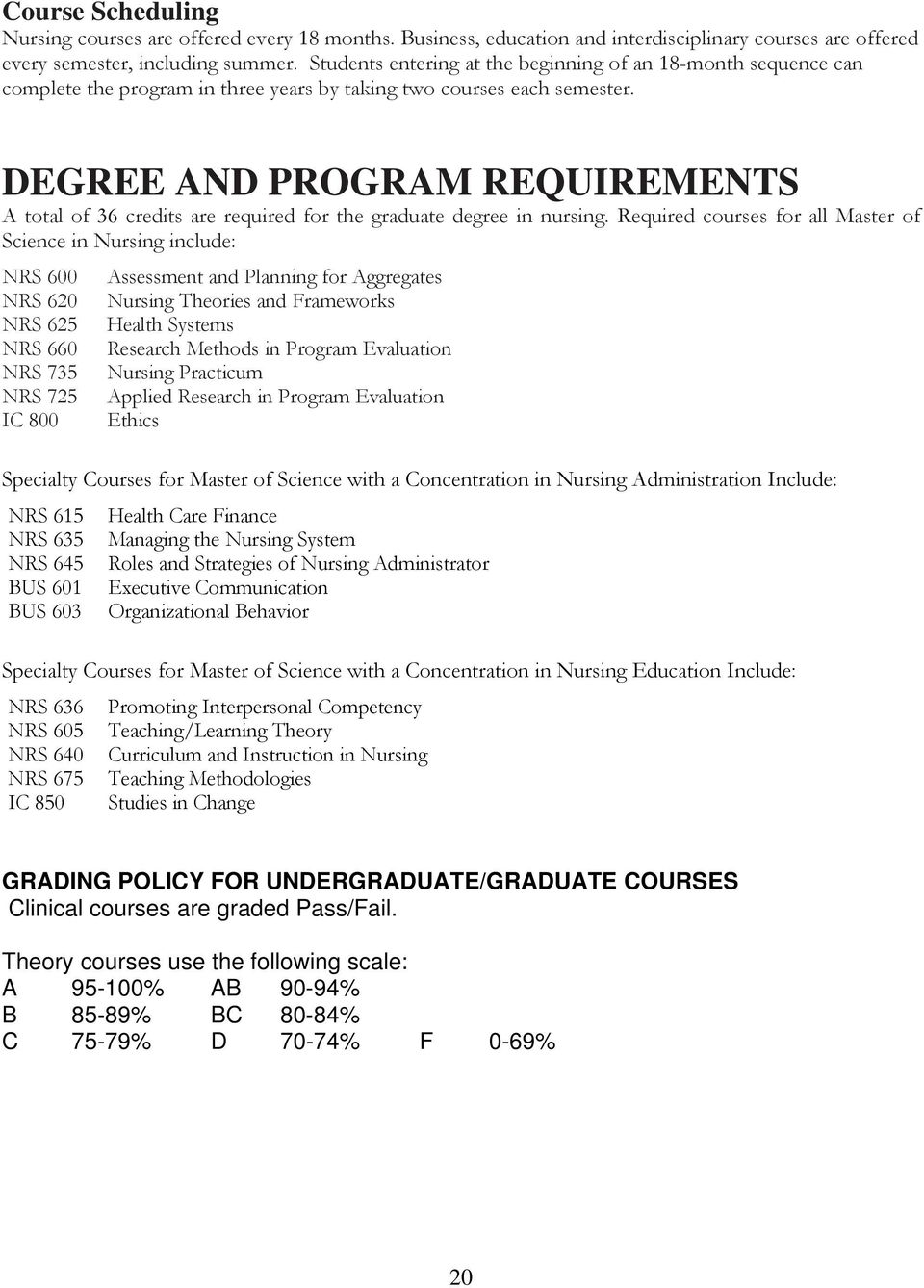 DEGREE AND PROGRAM REQUIREMENTS A total of 36 credits are required for the graduate degree in nursing.