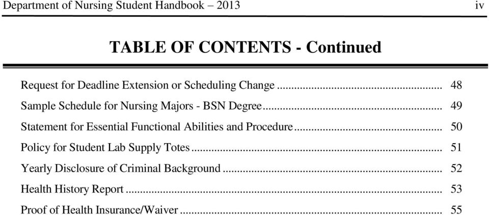 .. 49 Statement for Essential Functional Abilities and Procedure.