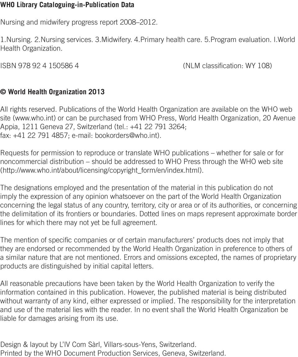 Publications of the World Health Organization are available on the WHO web site (www.who.