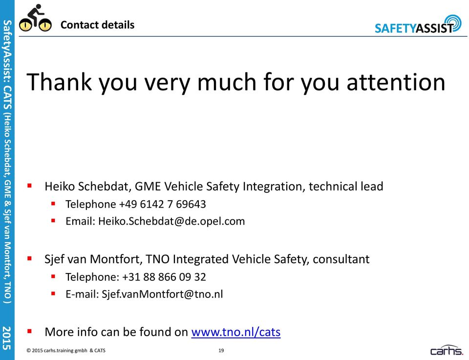 com Sjef van Montfort, TNO Integrated Vehicle Safety, consultant Telephone: +31 88 866 09 32