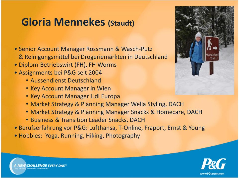 Manager Lidl Europa Market Strategy& Planning Manager Wella Styling, DACH Market Strategy& Planning Manager Snacks & Homecare, DACH